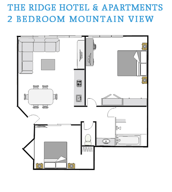 2 bedroom mountain view floor plan the ridge hotel and for Mountain view floor plans