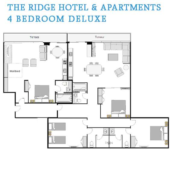 4 bedroom deluxe floor plan the ridge hotel and apartments for 4 floor apartment plan