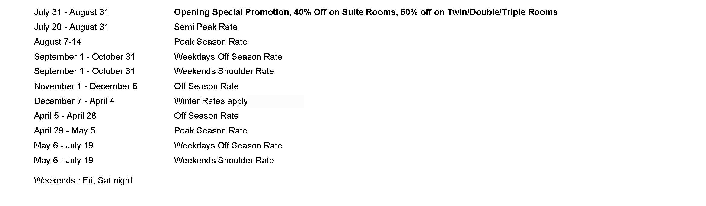 hotels summer rates
